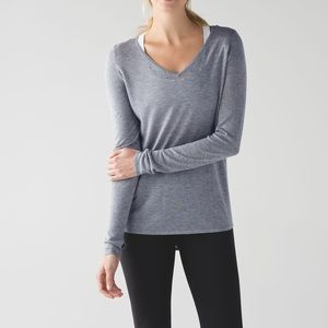 Lululemon Yin Time Long Sleeve Heathered Med Grey